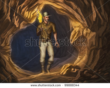 Is Exploring A Mysterious Cave  Digital Illustration    Stock Photo