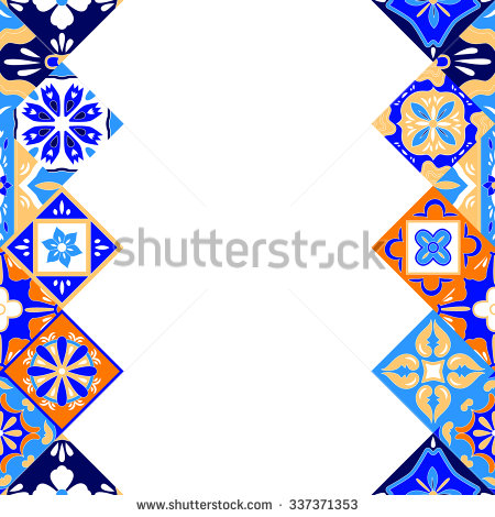 Mexican Stylized Talavera Tiles Seamless Border In Blue Orange And