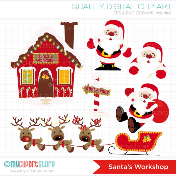 North Pole   Santas Workshop Clip Art   Digital Clipart   Instant