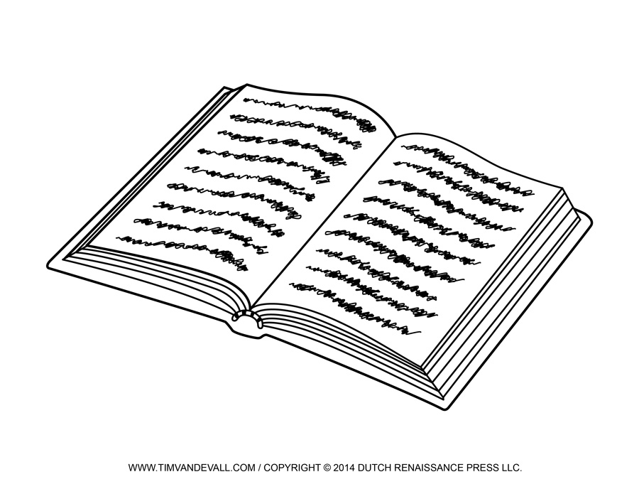 Open Book Clip Art Black And White