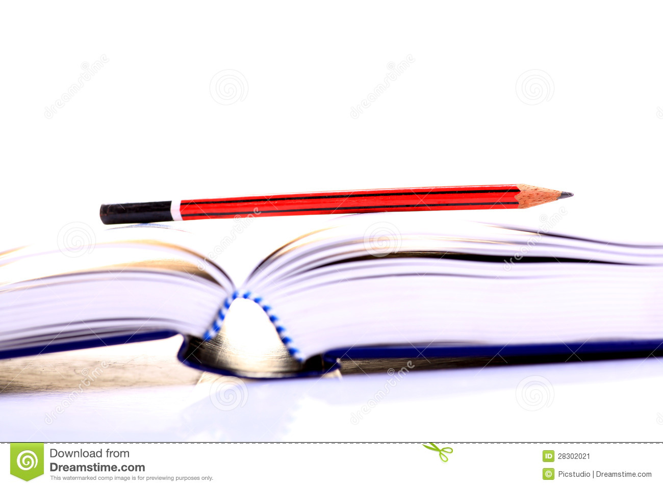 Open Book With Pencil Over White Background Mr No Pr No 2 428 1