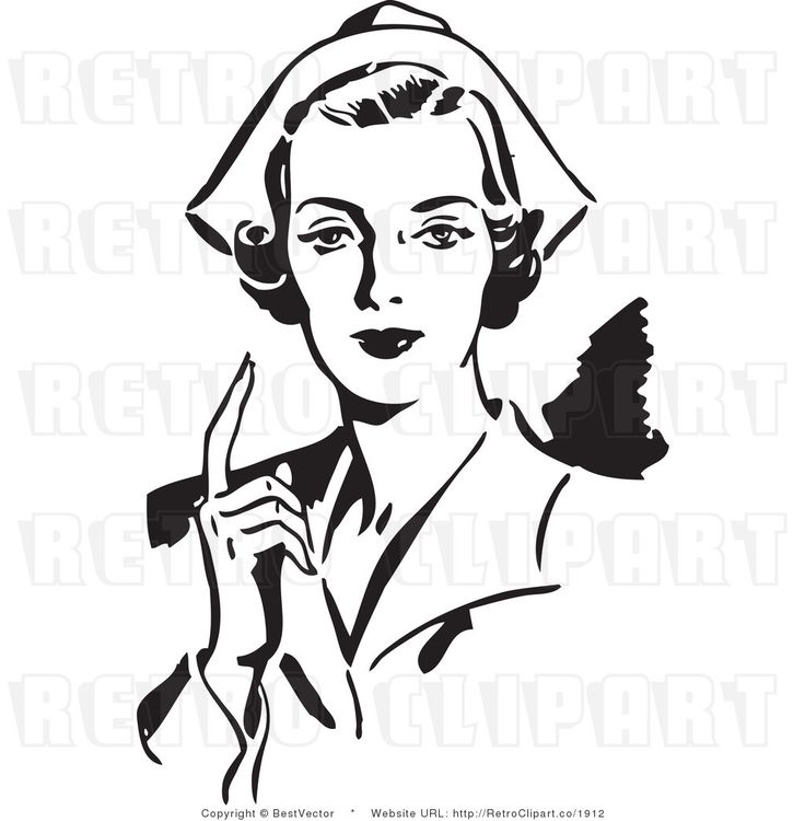 Royalty Free Black And White Retro Vector Clip Art Of A Nurse  02 Prep