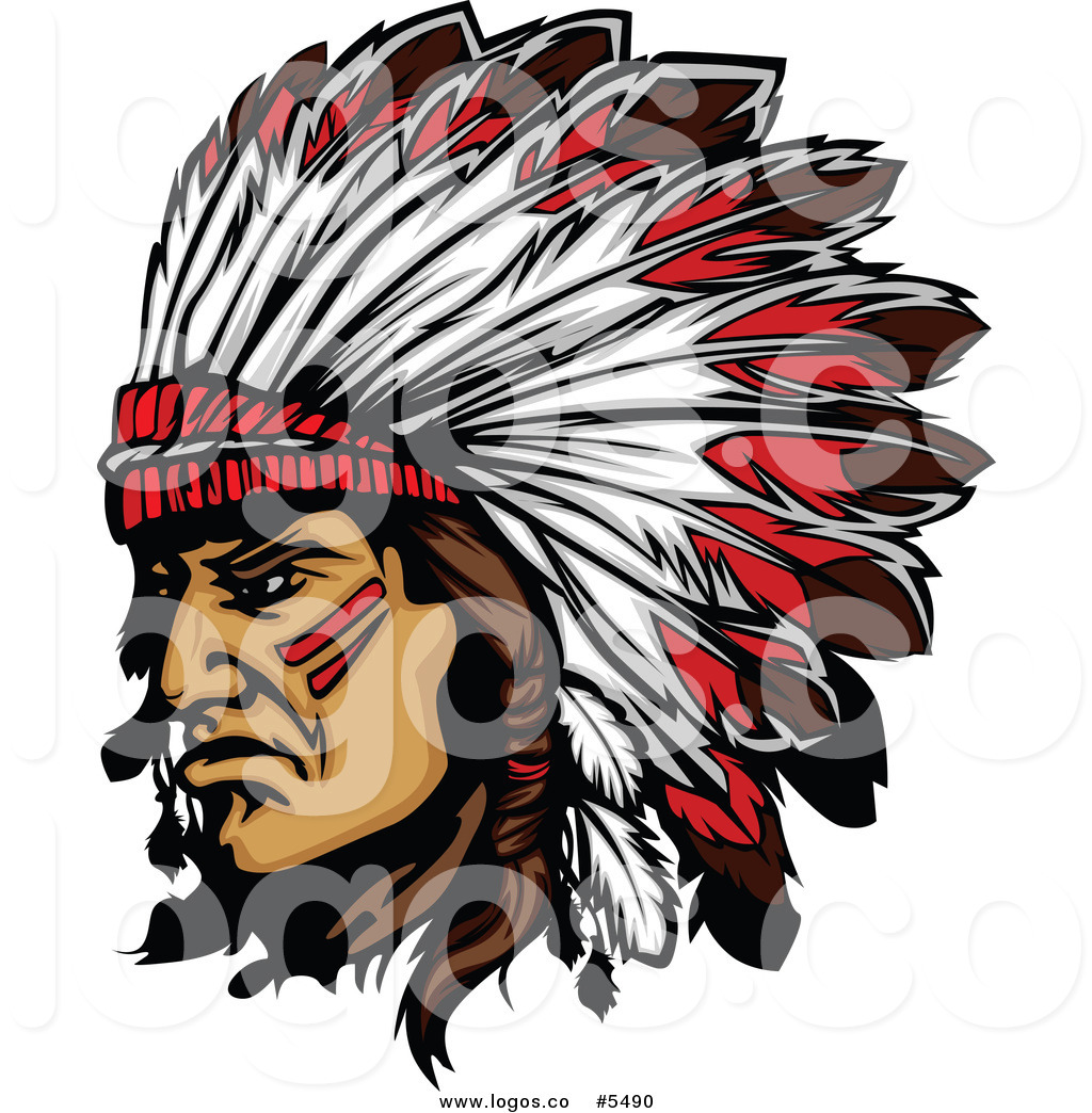 Royalty Free Vector Of A Logo Of A Native American Indian Chief And