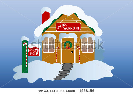 Santa S Workshop At The North Pole Over Gradient Blue Background