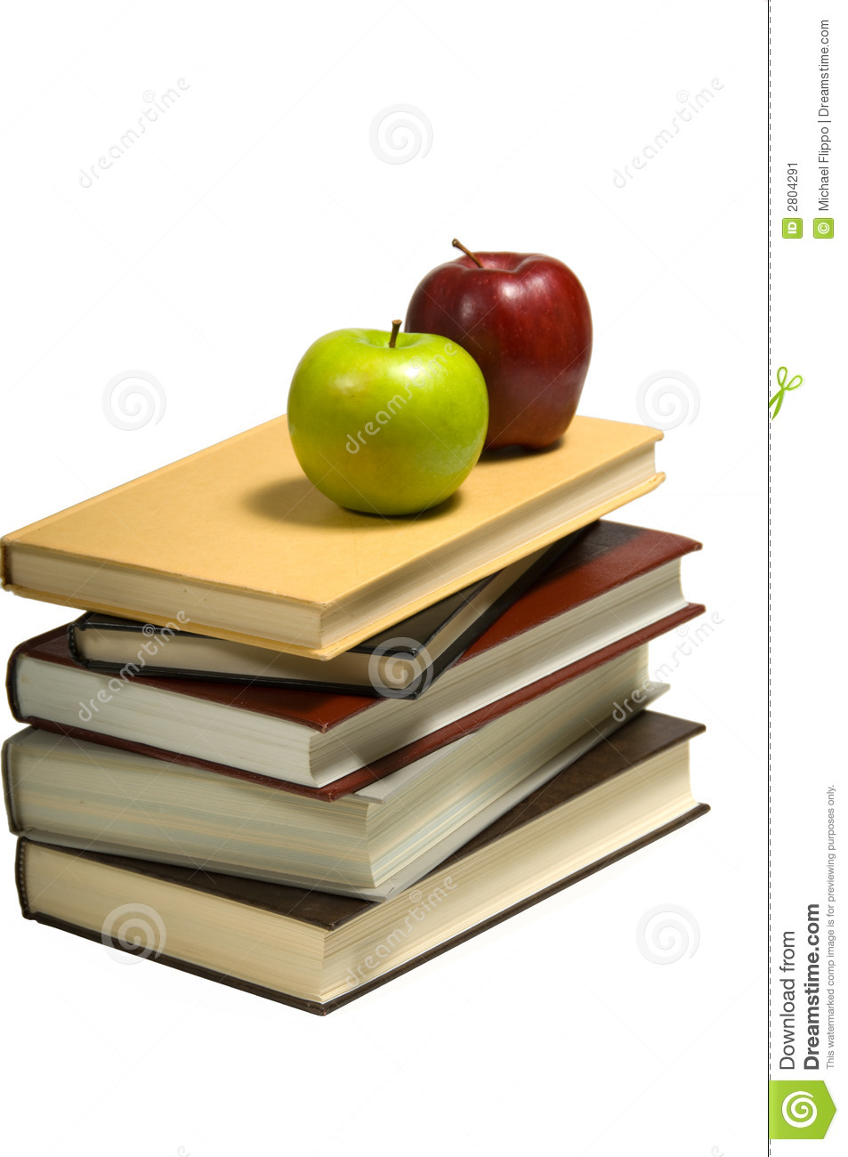 School Books With Apples And Pencils On White Background Mr No Pr No 4