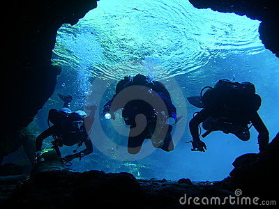 Three Cave Divers About To Enter The Cave System At Little River