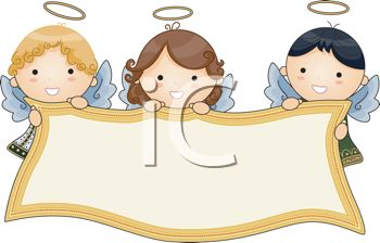 Adorable Little Angels Holding A Banner   Royalty Free Clip Art