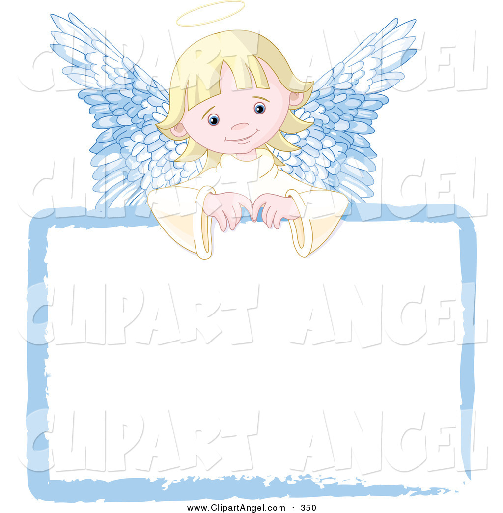 An Sweet Blond Angel Girl Looking Over A Blank White Sign By Pushkin