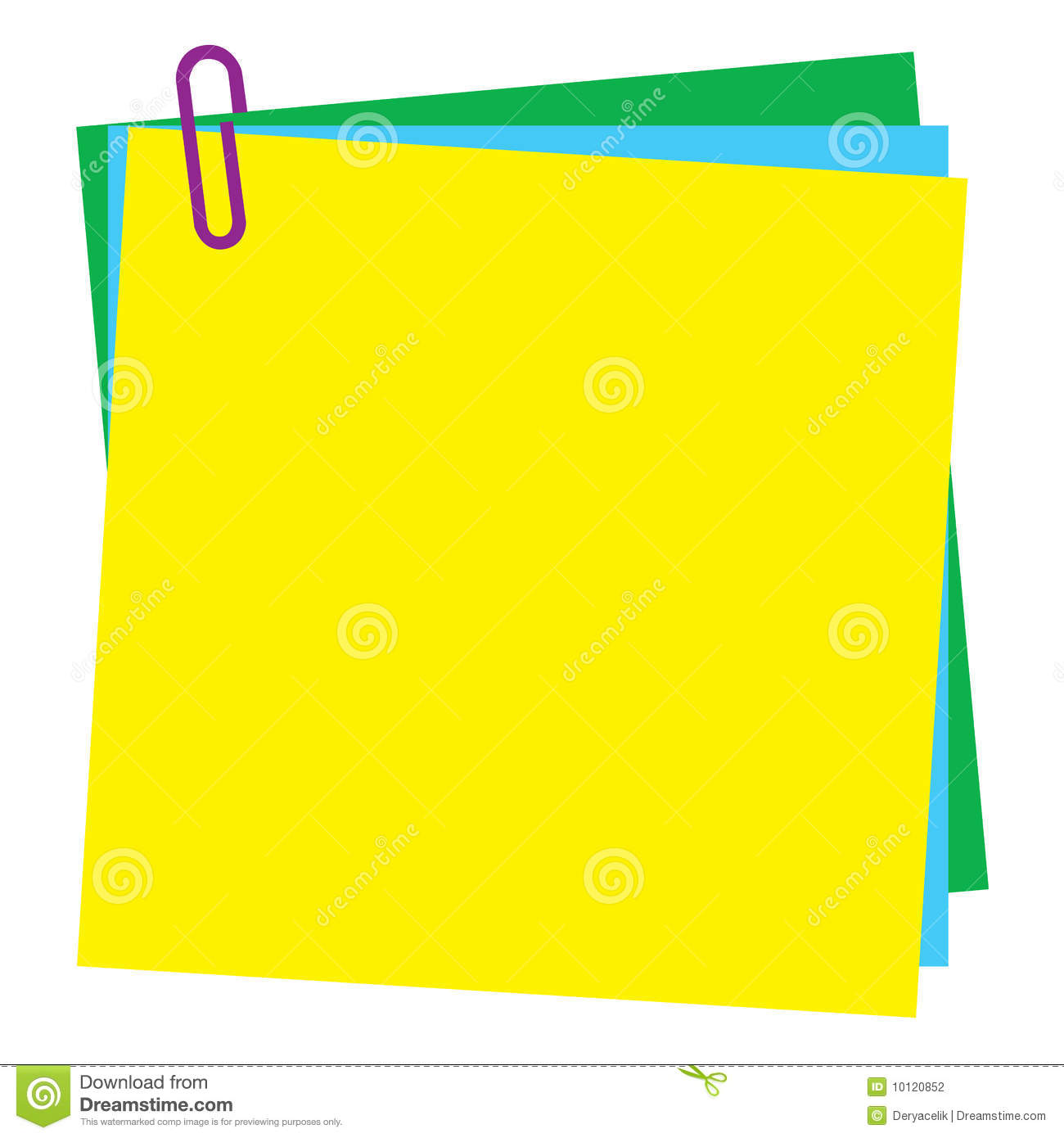 Blank Post It Note Paper With Paperclip Stock Photography   Image