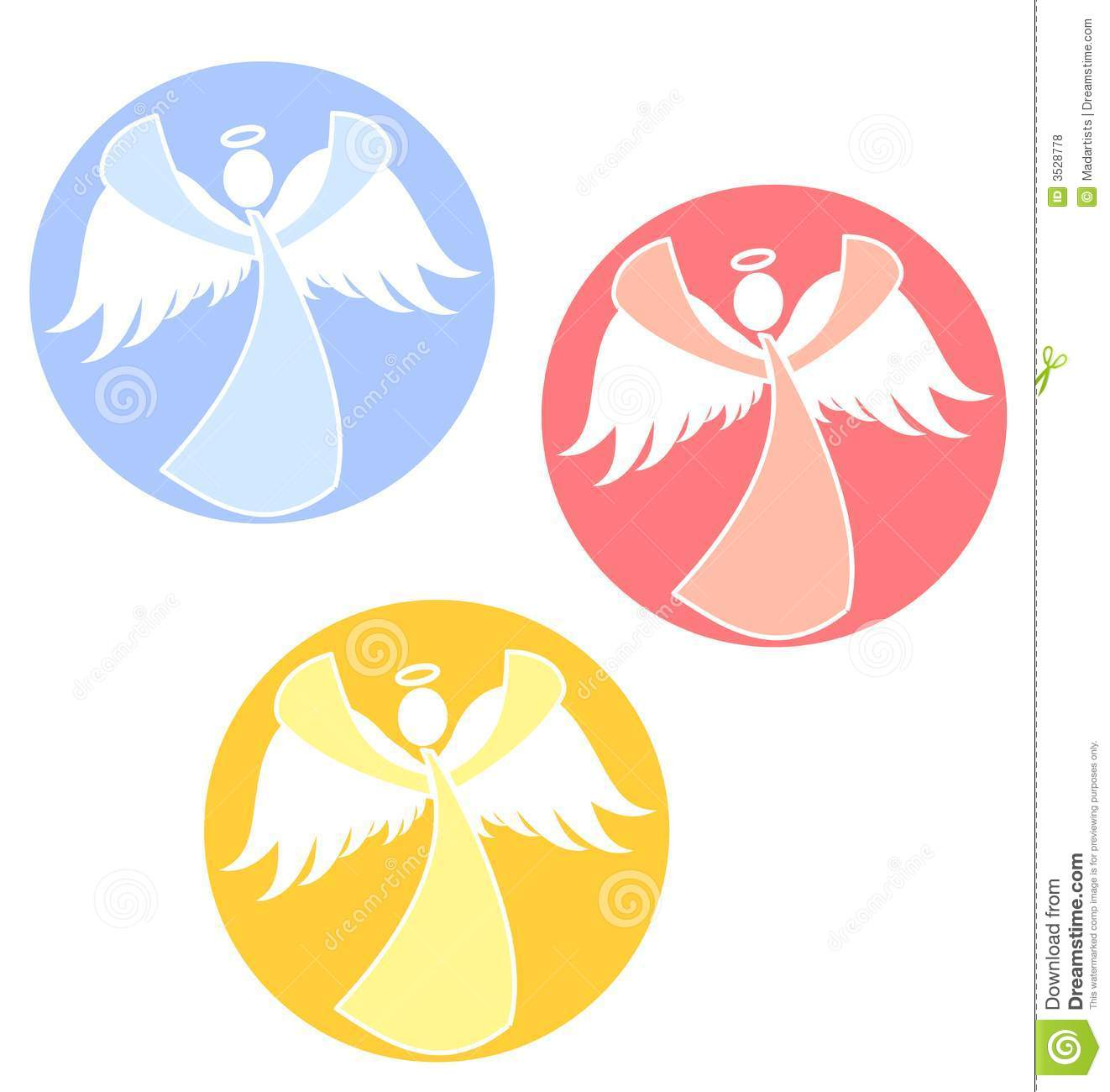 Clip Art Illustration Of Your Choice Of 3 Christmas Angel Icons Or