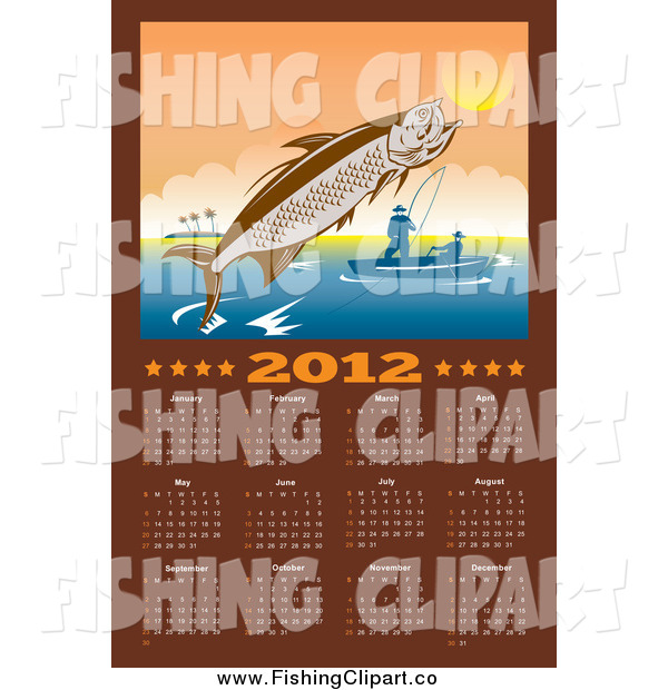 Clip Art Of A 2012 Fishing Calendar With A Leaping Tarpon By