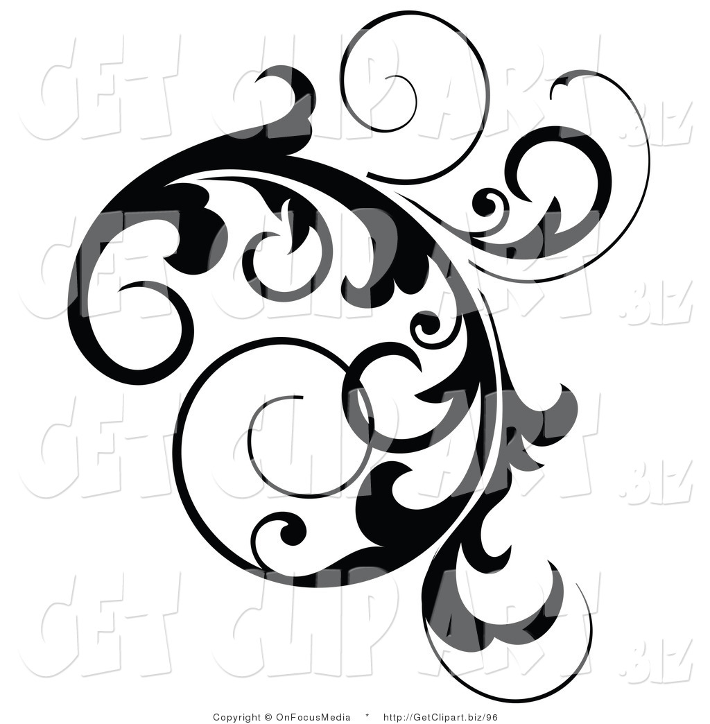 Clip Art Of A Black Cluster Design Accent Of Curling Vines On White By