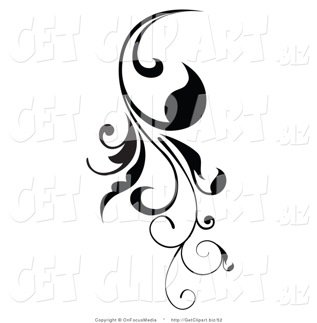 Clip Art Of A Vertical Black Scroll Vine Design Element Growing Down