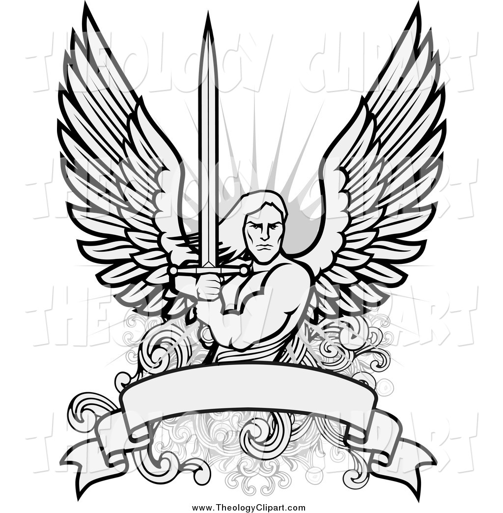 Clip Art Of A Warrior Angel Holding A Sword Over A Blank Banner By