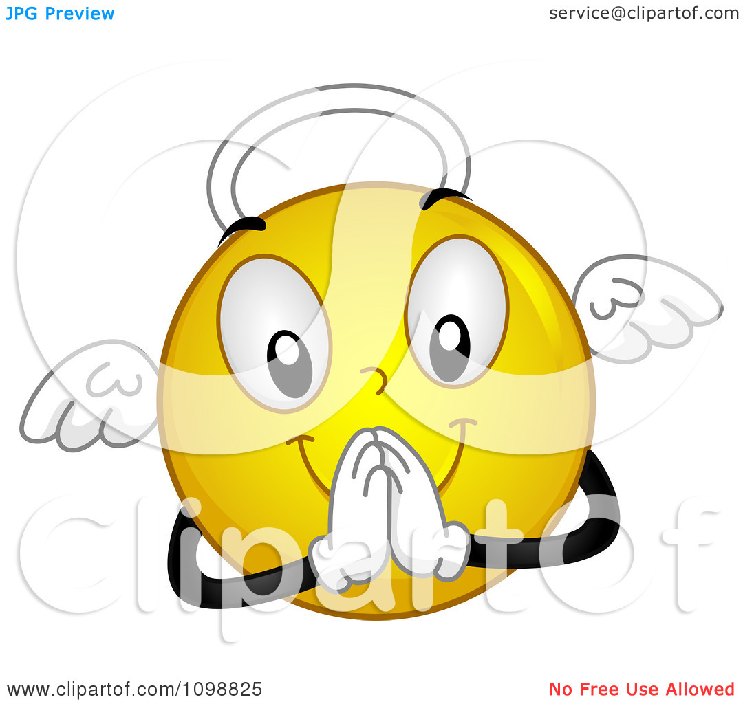 Clipart Yellow Angel Smiley Emoticon   Royalty Free Vector