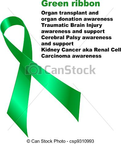 Green Ribbon  Organ Transplant And Organ Donation Awareness Traumatic