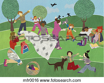 Illustration Of People Having A Big Picnic Mfr0016   Search Clip Art