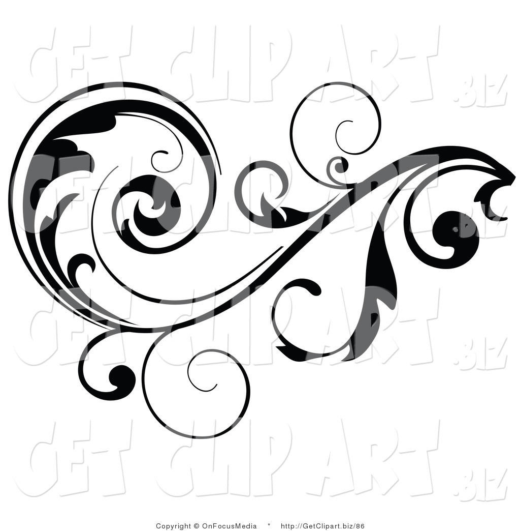 Larger Preview  Clip Art Of A Black Leafy Vine Design Accent With