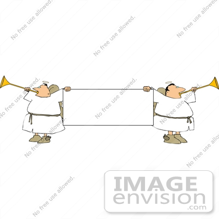 Male Angels Holding A Banner And Blowing Trumpets Clipart    12557 By