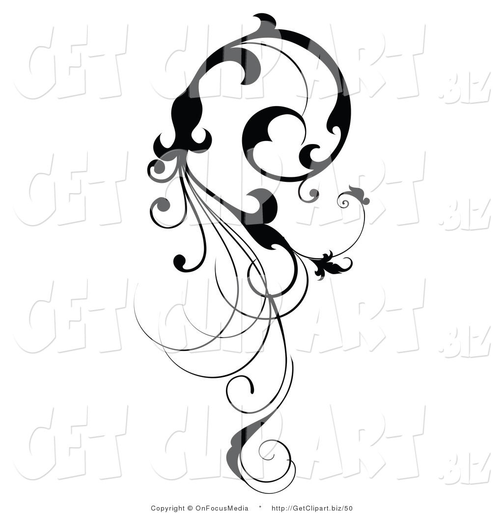 Preview  Clip Art Of A Vertical Black Silhouetted Scroll Vine Design