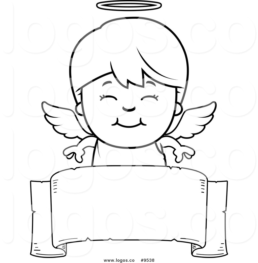 Royalty Free Clip Art Vector Black And White Logo Of A Smiling Angel