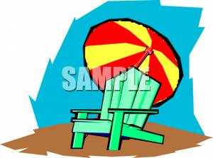 An Umbrella Behind A Beach Chair   Royalty Free Clipart Picture