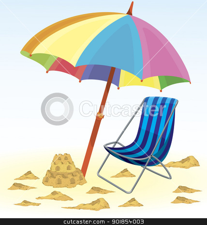 Beach Umbrella Chair Sand Castle Stock Vector Clipart Beach Umbrella