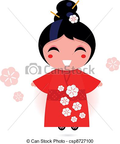 Clipart Of Japanese Geisha Girl In Red Kimono Isolated On White   Cute