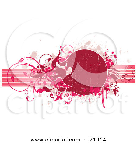 Clipart Picture Illustration Of A Red Circular Text Space With