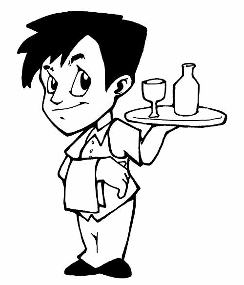 Waiter Black And White Clipart - Clipart Kid