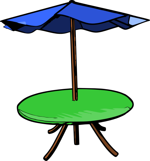 Outdoor Furniture Umbrella Cafe Clip Art