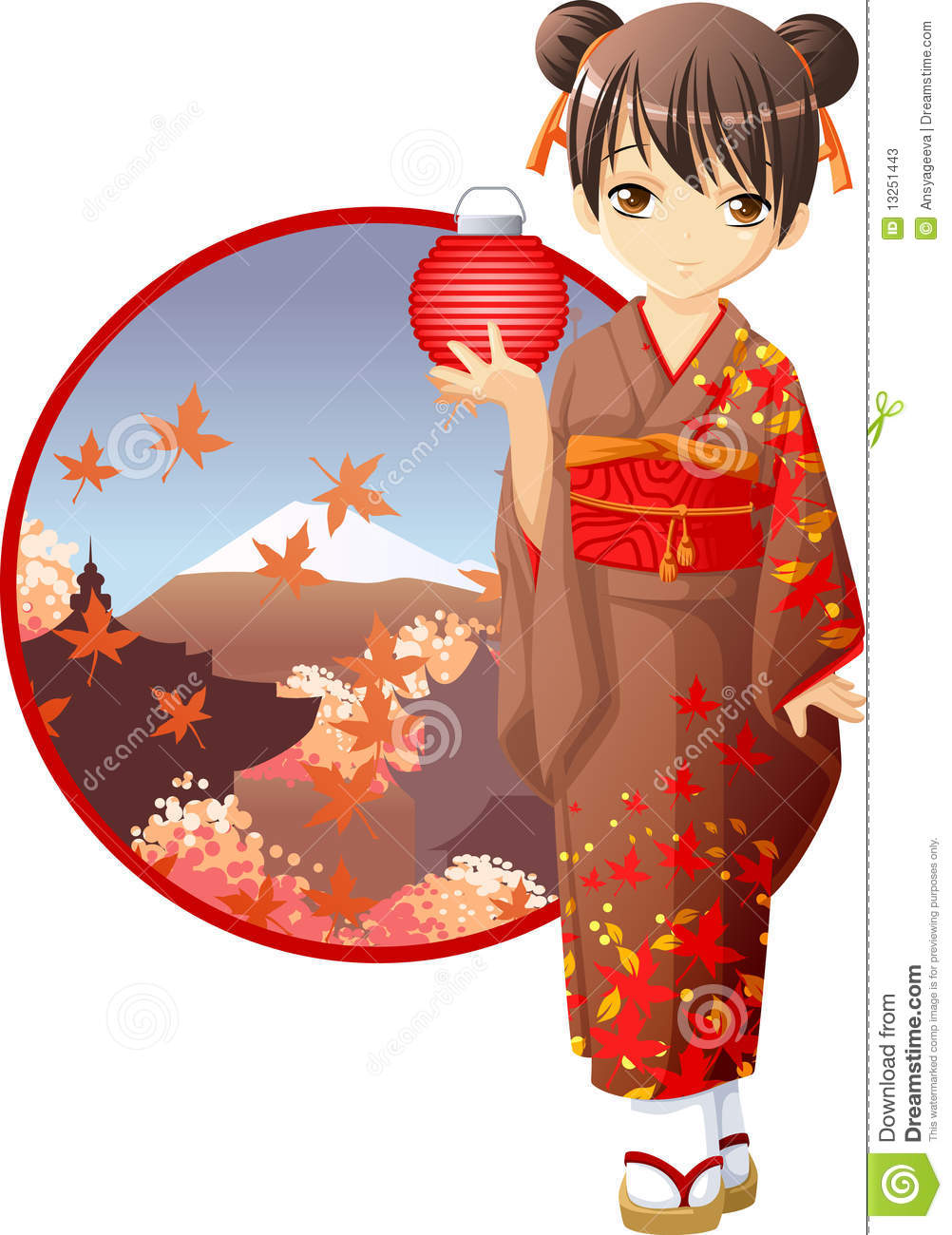 Cute And Kawaii Autumn Kimono Girl At Anime Style