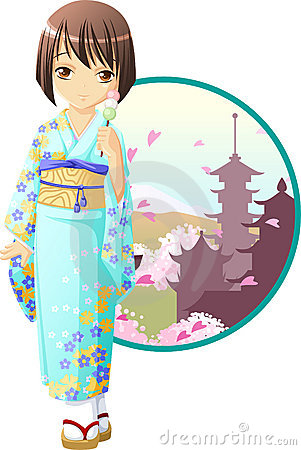 Cute And Kawaii Spring Kimono Girl At Anime Style
