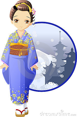 Cute And Kawaii Winter Kimono Girl At Anime Style