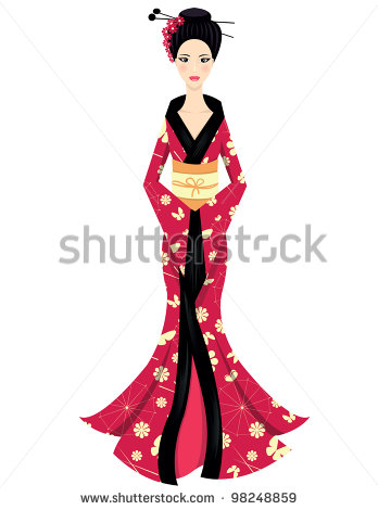 Cute Asian Girl Character On Scarlet Kimono   Stock Vector
