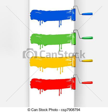 Eps Vector Of Colorful Paint Brushes Leaving A Horizontal Trail Vector