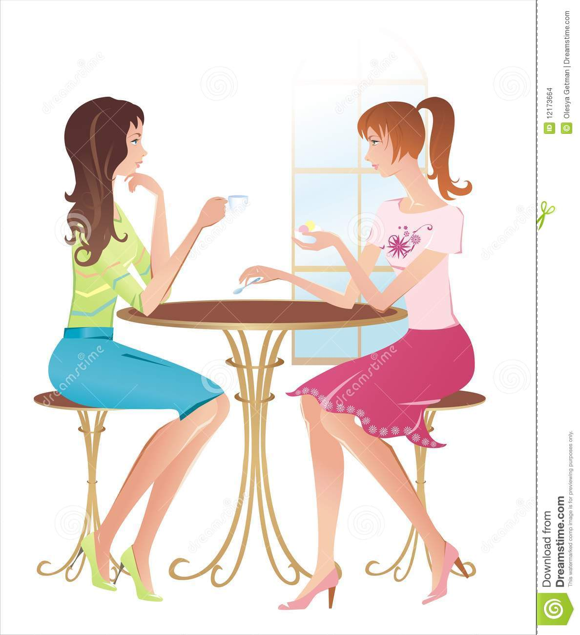 Girl Talking To Friends Clipart Two Girls At A Cafe Talking