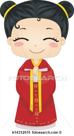 Girl Wearing National Costume Cheongsam View Large Clip Art Graphic
