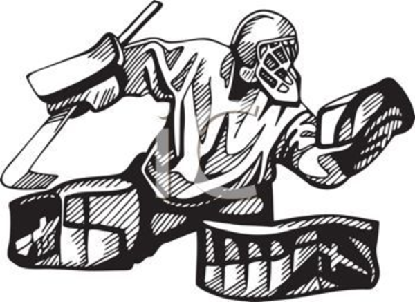 Hockey Goalie In Black And White Clipart Image   Free Images At Clker