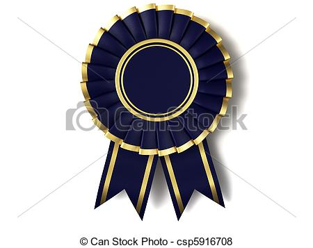 Stock Illustration Of Dark Blue Ribbon Award With A Gold Border On A
