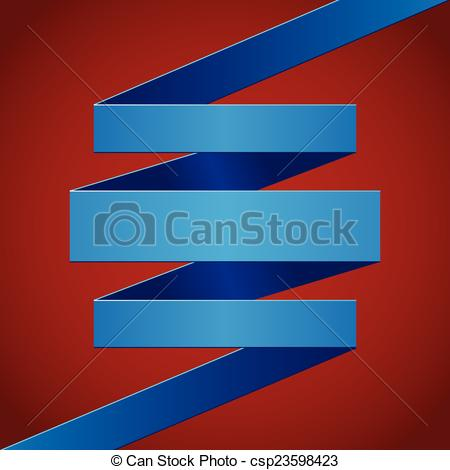 Vector Illustration Of Blue Paper Folded Ribbon On Dark Red Background