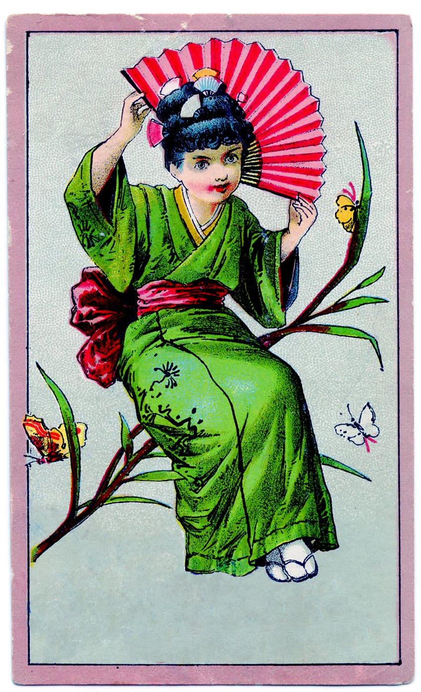Vintage Clip Art   Cute Kimono Girl   The Graphics Fairy