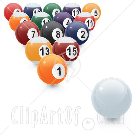 Balls And The Cue Ball Ready To Be Broken Clipart Illustration Jpg
