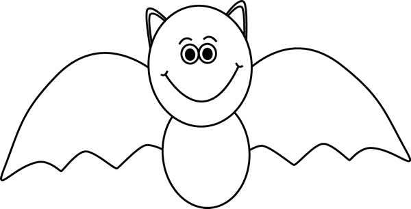 Bat Clip Art Image   Black And White Outline Of A Cute Halloween Bat