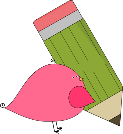 Bird With Pencil Clip Art Image   Small Pink Bird Holding A Big Green