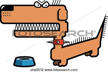 Clip Art   Growling Dog At His Dish  Fotosearch   Search Clipart
