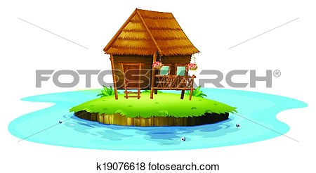 Clip Art Of An Island With A Small Nipa Hut K19076618   Search Clipart