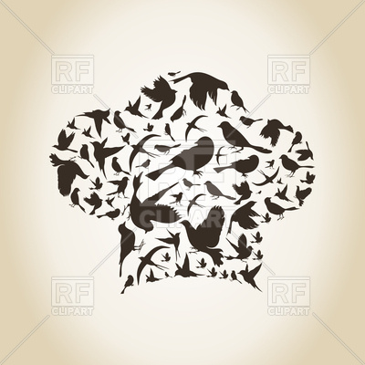 Cook Hat Made From Silhouettes Of Birds 78483 Download Royalty Free