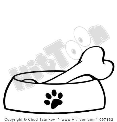 Dog Bone In Bowl Clipart 1097132 Clipart Bone In A Red Dog Bowl Dish