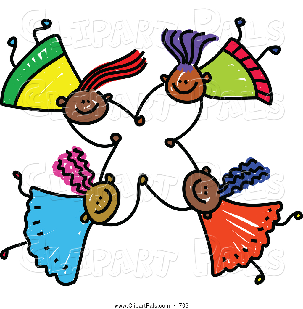 Friendly Clipart Pal Clipart Of A Childs Sketch Of Four Friendly Kids